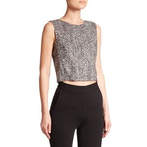 Theory Pagia Tweed Knit Sleeveless Crop Top Tank